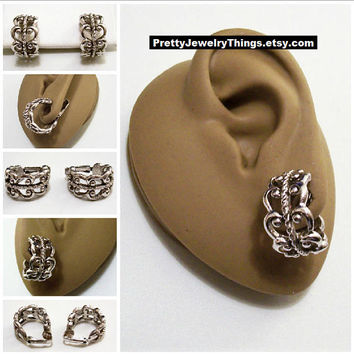 Avon Scroll Hoop Clip On Earrings Silver Tone Vintage 1977 French Filigree Nail Head Open Round Wide Band Dangles