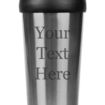 Customized 3D Laser Engraved Personalized Stainless Steel Custom Travel Mug without Handle (Silver)