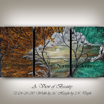 LANDSCAPE PAINTINGS Original green tree art sunset art beautiful sunset painting Large modern sunset scenery fine art - Nandita Albright