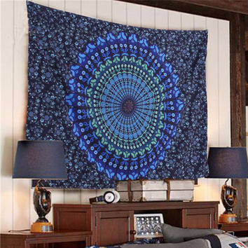 Colored Printed Mandala Polyester Wall Tapestry Indian Elephant Wall Carpet Home Decoration Carpet 2 Size A185
