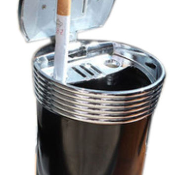 Portable Stainless Auto Car Cigarette Ashtray Extinguishing Ashtray Black