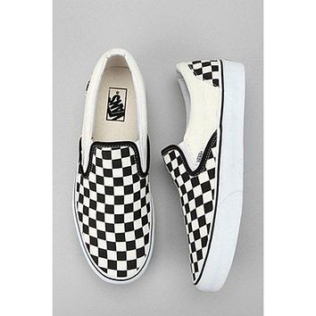 Vans Popular Women Men Casual Black White Checkerboard Slip-On Sport Sneaker I
