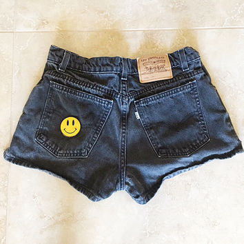 Levis Black High Waisted Jean Shorts Smile Patch Vintage