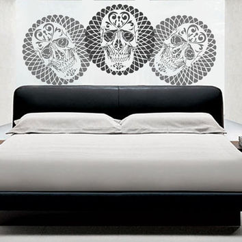 Geometric Skull Stencil - Large, reusable stencil for walls or other artwork