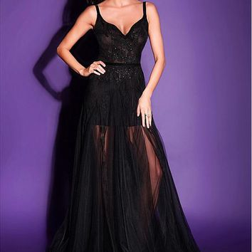 [98.99] Marvelous Tulle Spaghetti Straps Neckline A-line Evening Dresses With Lace Appliques - dressilyme.com