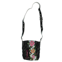 Ed Hardy Womens Renee Printed Textured Crossbody Handbag