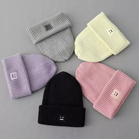 Plain Smile Embroidery Knitted  Headgear