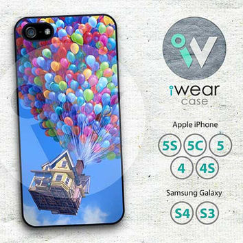Up Flying House iphone 4 case, Cute Balloons iPhone 4 4g 4s Hard & Rubber Case,white clouds blue sky cover skin case for iphone 4/4g/4s case