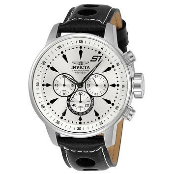 INVICTA S1 Rally Mens Chronograph - White Dial - Stainless Steel - Black Leather