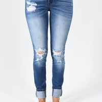 Kan Can Mid Rise Jeans - Janet Wash