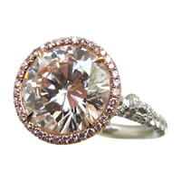 Rare Natural Faint Pink Color Diamond Ring G.I.A.