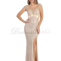Gorgeous Mermaid Straps Floor Length Long Lace Prom Dress. DressOnSale365.com-Cheap And High Quality Wedding Dresses,Prom Dresses & More