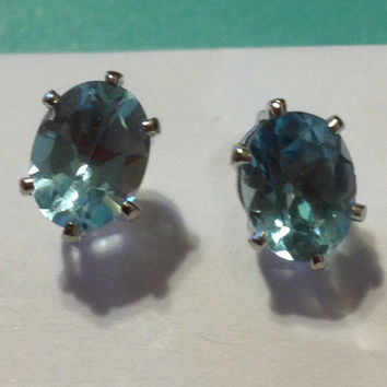 14K Blue Topaz Earrings 3 TCW Studs White Gold Genuine Natural Oval Stones New Vintage Jewelry Bridal Prom Birthstone Gemstone Gift HUGE