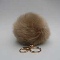 Faux Fur Pom Pom bag Keyring Hot Couture Novelty keychain pom pom ball KHAKI