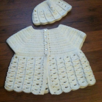 White Spring Sweater and Hat, Crocheted Summer Set for Toddler Girl, 9 to 12 Month Old, Easter, Wedding, Handcrafted, First Birthday Outfit