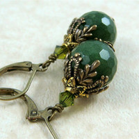Olive Green Faceted Bead with Antiqued Victorian Style Bead Cap on Lever Back Ear Wires