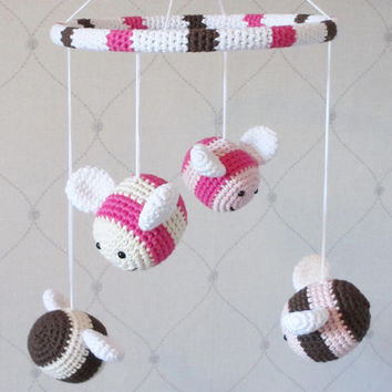 Baby crib mobile crochet bees - organic cotton - custom mobile - nursery decor - pink and brown
