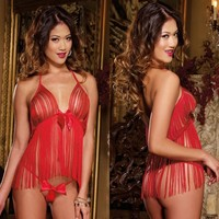Cute On Sale Hot Deal Tassels Sexy Hollow Out Exotic Lingerie [6594738499]