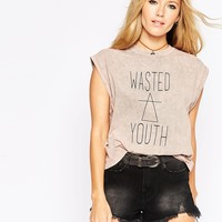 ASOS High Neck Top in Oil Wash with Wasted Youth