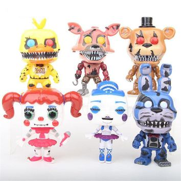6 Pcs/Set Five Night At Freddy With Sound  Bonnie Bear Foxy Pvc Model Figma Action Figure Freddy Toys Children Gifts