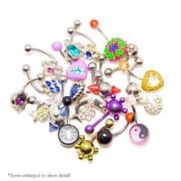 "20 Random Belly Navel Rings 14ga-7/16""(11MM) By BodyJewelryOnline"