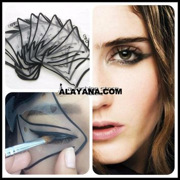 Quick Makeup 7 style in 1 set Cat Eyeliner Smokey Eyeshadow Drawing Guide Reusable Stencil for Classic Eye Liner Template
