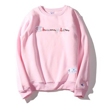 Champion autumn and winter gradient embroidery letters cotton round neck sweater Pink