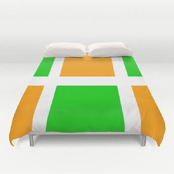 Apple Green Orange White Duvet Cover Green Orange Pattern Duvet Cover Bedroom Decor Multicolor Duvet Cover Citrus Duvet Cover Bright Fun