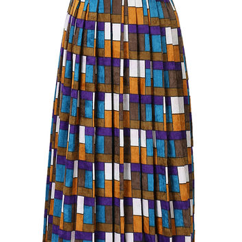 Blue And Purple Plaid Textured Corduroy Pleats Over The Knee Skirt