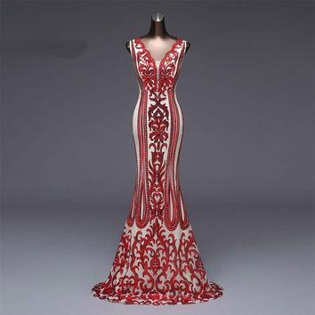 Formal party dress long Evening Dress Luxury Red Sequin robe prom gowns