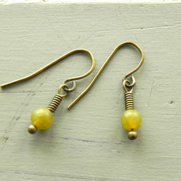 Small Jade Dangle Earrings / Bohemian Antiqued Brass Earrings / Jade Earrings