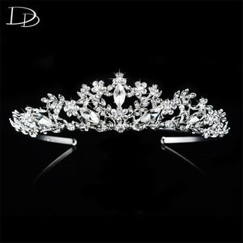 vintage wedding hair accessories bridal tiara for women Austrian crystal queen crown noiva 585 gold color diadem jewelry HF025