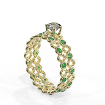 Braided Diamond engagement ring with Emerald | Handmade Solid 14k gold  engagement ring set with 0.40ct diamond and 12 round emerald gems