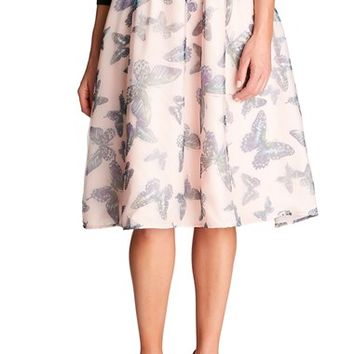 Women's CeCe by Cynthia Steffe 'Floating Butterflies' A-Line Skirt,