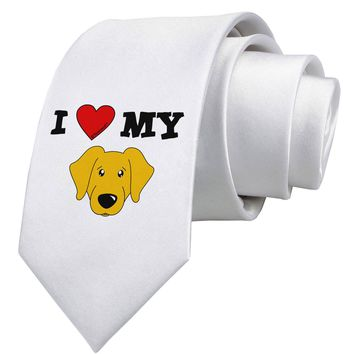 I Heart My - Cute Yellow Labrador Retriever Dog Printed White Necktie by TooLoud