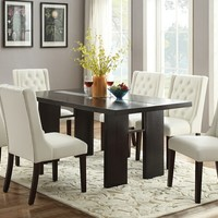 7 pc Turnbull collection espresso finish wood table dining table with glass insert and white chairs