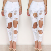 Small and Big Cut Out Design Buttoned Waist Pants
