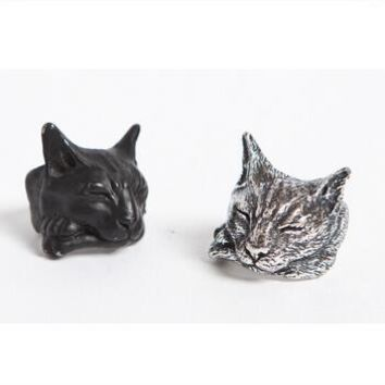 Drop shipping-3D Retro Lazy Cat Ring
