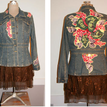 Upcycled Distressed Denim Jacket Jean Jacket Shabby Chic Boho Clothing Vintage Barkcloth XL