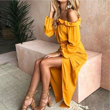 Slash Neck Off The Shoulder Ruffles Tunic Boho Maxi Long Sleeve