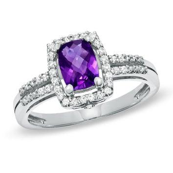 Cushion-Cut Amethyst and White Topaz Frame Ring in Sterling Silver