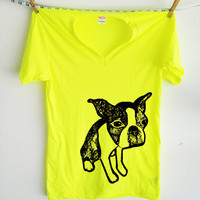 Neon Boston Terrier V Neck Tshirt