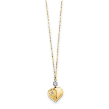 14K Two Tone Polished & D/C Puffed Heart Necklace SF2287