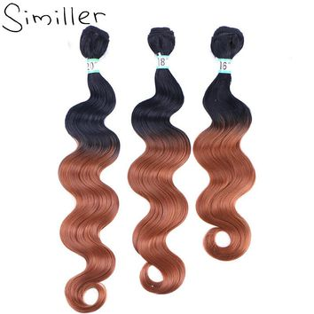 """Similler 16"""" 18"""" 20"""" Long Synthetic Hair Extensions Ombre Two Tones Double Weft Weaving T1/27/30 One Bundles"""