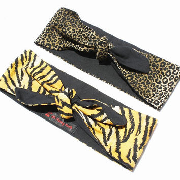 Vintage Inspired Head Scarf, Leopard Print or Tiger Print, Retro, Rockabilly