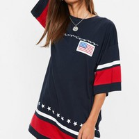 Missguided - Navy Oversized Americana Slogan T-Shirt Dress