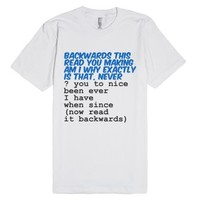 Backwards-Unisex White T-Shirt