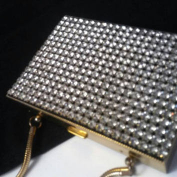 Vanity Rhinestone Compact Carry-All Purse - Black Tie Formal Evening Clutch - 1950's 1960's High End Collectible -