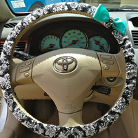 Steering Wheel Cover Black & White Damask Fabric w/Aqua Blue Bow, Teen, Gifts, Women, car, accessories, girl, steering wheel covers