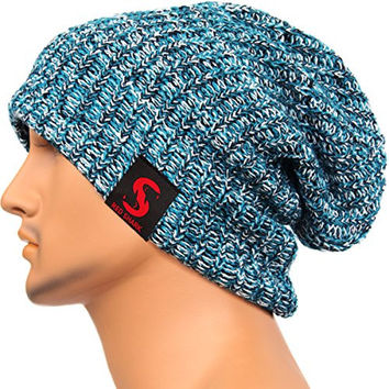 Men's Women's Fashion Slouchy Blue Beanie Knit Caps Oversize Winter Outdoor Hats